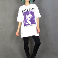 Vintage The Smiths Tshirt Morriswey Tee Screen Printed Graphic White Cotton Tee Rock Band Concert Tshirt Unisex Le Tout Nouveau  (M/L)