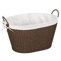 Household Essentials Lined Paper Rope Laundry Basket, Dark Brown Stain