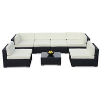 2015 Outdoor Sofa All Weather Wicker Sectional 7 Piece Resin Couch Sofa Set