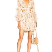 Floral Chiffon Cutout Mini Dress