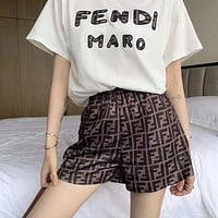FENDI Summer New Product Embroidered Letter Short Sleeve T-shirt + Double F Printed Shorts Casual Set