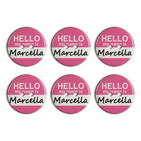 Marcella Hello My Name Is Plastic Resin Button Set of 6
