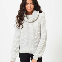 Grey Slouchy Cowl Neck Jumper | Missselfridge