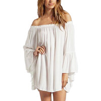 White Off Shoulder Chiffon Dress