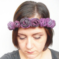 Crown of Roses Crochet Bridal Headband or Festival Wear, OOAK, ready to ship.