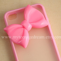 Iphone 4 Case, lovely big pink bow iphone 4s Hard Case iPhone Case 4 baby pink side clear case