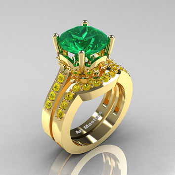 Classic 14K Yellow Gold 3.0 Carat Emerald Yellow Sapphire Solitaire Wedding Ring Set R301S-14KYGYSEM
