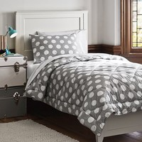 Dot Chic Essential Value Bedding Set, Light Gray