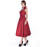 50's Vintage Design Rockabilly Vamp Red Belted Party Dress with Bow Accent