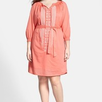 Plus Size Women's Caslon Embroidered Cotton Peasant Dress,