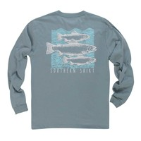 Southern Shirt Company Blockprint Trout Long Sleeve T-Shirt Available in Two Colors 1T010