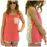 Coast to Coast Coral Crochet Tank