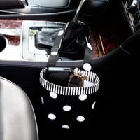 CAR CELLPHONE CADDY Black Polka Dots, Cellphone Holder, Sunglass Caddy, Mobile Accessories, Beach Chair Caddy, Pool Chair Holder, iPhone