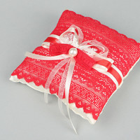 Pillow for rings made of satin beautiful elegant handmade accessory for wedding