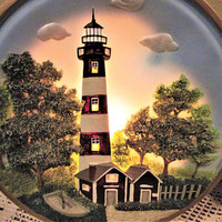 Lighting Accent Lighthouse Night Light Lamp Ceramic Porcelain Home Decor Vintage blm