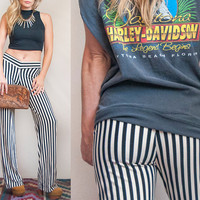 Vintage Black and White Striped Palazzo Pants | 90s Club Kid meets 70s Disco Pants | Flare Pants | Dance Pants Bell Bottoms Size XS Small M