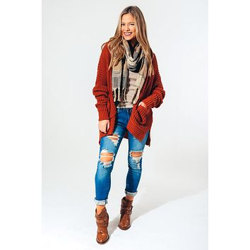 Something About Your Love Cardigan: Rust