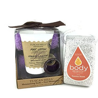 Love To The Sole Foot Care Moisturizing Bundle - Two Items: Tuscan Hills Kit that Includes French Lavender Lotion 2.2oz and Soft Purple Moisturizing Socks, and Body Benefits Pumice Stone w/ Hang Tie