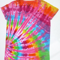 Tie Dye Scoopneck Shirt/ Women's Medium(8-10)/ Pink Rainbow