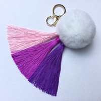 Purple Gradient Tassel Handbag Charm Fur Pom Pom ball keychain