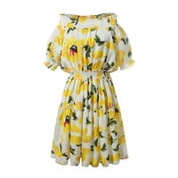 Yellow Floral Print Off the Shoulder Elastic Waist Lantern Sleeve Pleated Dress