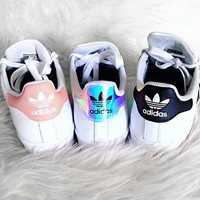 Adidas Superstar men's and women's casual fashion white shoes
