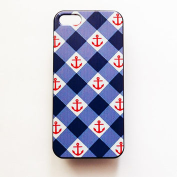 iPhone 5 Case Plaid Retro Pattern iPhone 5 5s Hard Case Geometric Anchor Back Cover For iPhone 5 Slim Design Case