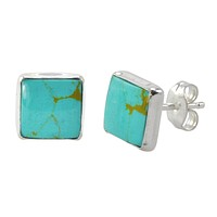 Sterling Silver Gemstone Earrings Turquoise 9mm Square Handmade Studs