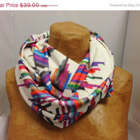 ON SALE Colorful Knit Scarf - Crazy Lines B Chunky Infinity Scarf - Striped Scarf