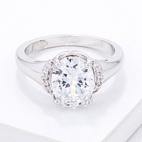 Simple Oval CZ Engagement Style Ring