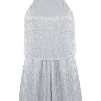 Silver Lurex Playsuit - Occasion Shop - Clothing