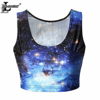 Hot! Sexy! Galaxy Space 3D Printed Crop Tops Summer O-Neck Sleeveless Fitness Women Tank Top Dew Navel Casual Slim Vest B024