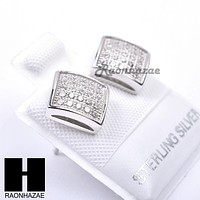 Sterling Silver .925 Lab Diamond 8mm Square Push Back Earring SE021S
