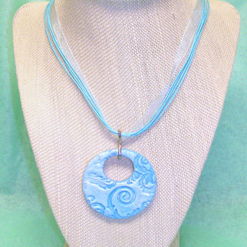 Blue Floral Essential Oil Personal Diffuser Aromatherapy Necklace Handmade Clay Diffuser Pendant with Blue Ribbon Necklace