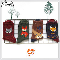 High-quality Cartoon women socks girls Fox Woman funny ladies women cotton Keep Warm Wool christmas wolf female socks hosiery