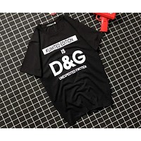 D&G Dolce & Gabbana 2018 Summer New Fashion Wild Thin Short Sleeve T-Shirt F-AG-CLWM Black