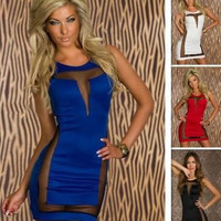 Mini Bodycon Dress with Mesh Party Evening Club Bandage Dress