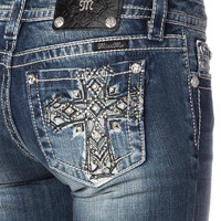 Miss Me Ethnic Cross Bermuda Jean Shorts