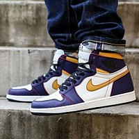 Air Jordan 1 OG AJ1 Trending Women Men Casual Sport Basketball Shoes Sneakers Purple&Brown