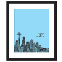Love for Seattle - Black Illustration on Colored Background - Space Needle - Art Print - 8 x 10 Wall Decor
