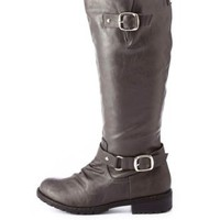 Distressed Lug Sole Belted Riding Boots by Charlotte Russe - Gray