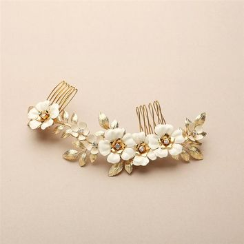 Hand Enameled Gold Tea Rose Designer Bridal Comb