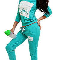 Block Letters Printed Two Piece Sport Set B0013455