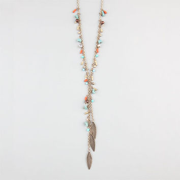 Full Tilt Feather Lariat Necklace Gold One Size For Women 24280362101