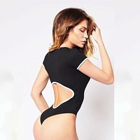 Women Simple Multicolor Back Hollow Short Sleeve Fitness T-shirt Bodysuit Romper Jumpsuit