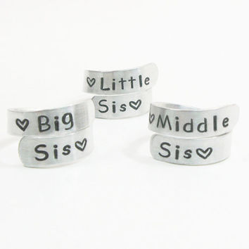 Sisters rings gifts for sisters big sis middle sis little sis rings - 3 sister rings - Three sisters rings - Sister jewelry