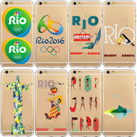 Mobile Phone Bags Clear Back Case for iphone 5C 5s/6 6 S Plus Back Cover 2016 Brazil Rio Olympic Games Soft TPU Phone Case