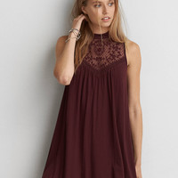 AEO Lace Panel Mock Neck Dress, Burgundy