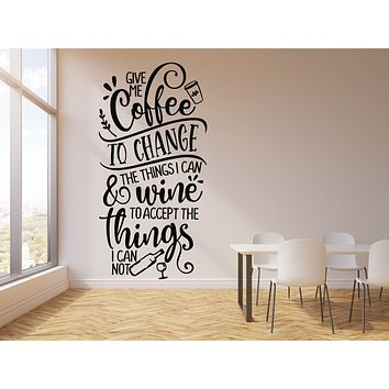 Vinyl Wall Decal Kitchen Quote Motivation Phrase Coffee Wine Cafe Decor Stickers Mural (g2466)