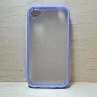 Silicone Bumper and Translucent Frosted Hard Plastic Back Case for iPhone 4 / 4S - Purple